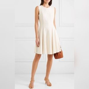 Theory Tweed Peplum Off White Fit And Flare Dress